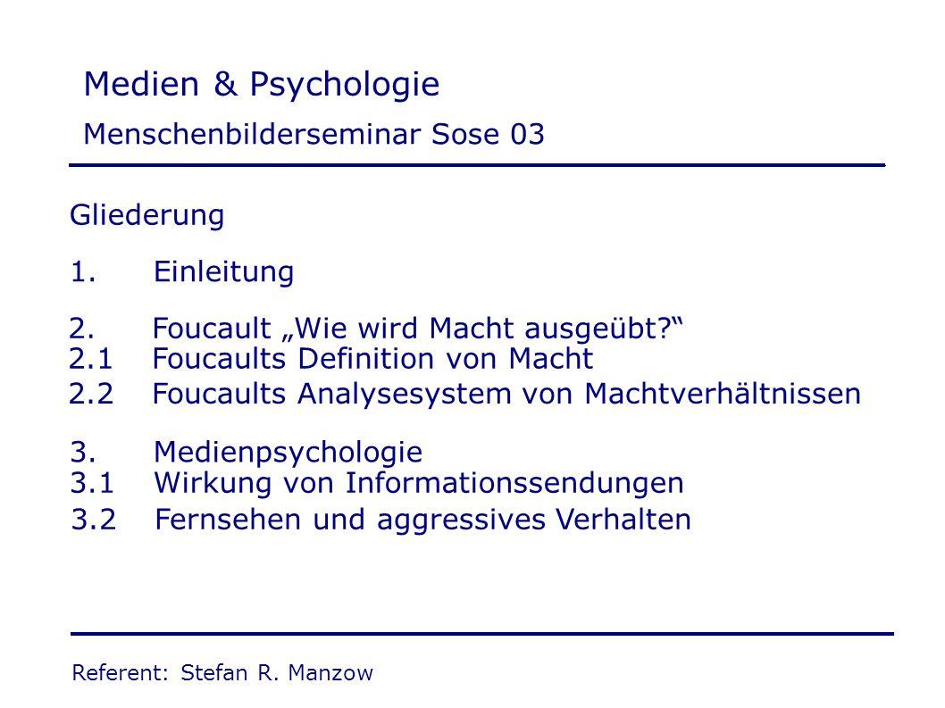 Medien & Psychologie Menschenbilderseminar Sose 03 Gliederung