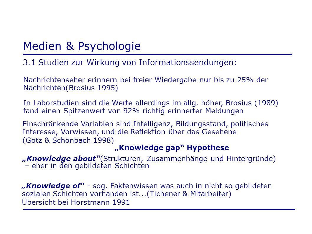Medien & Psychologie 3.1 Studien zur Wirkung von Informationssendungen: Nachrichtenseher erinnern bei freier Wiedergabe nur bis zu 25% der.