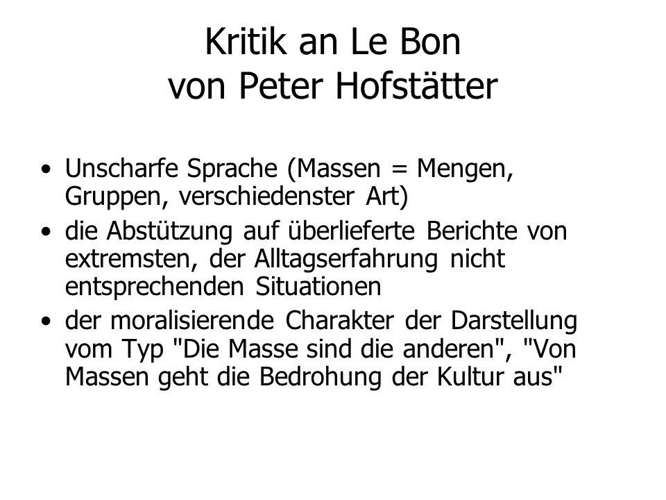 Kritik an Le Bon von Peter Hofstätter