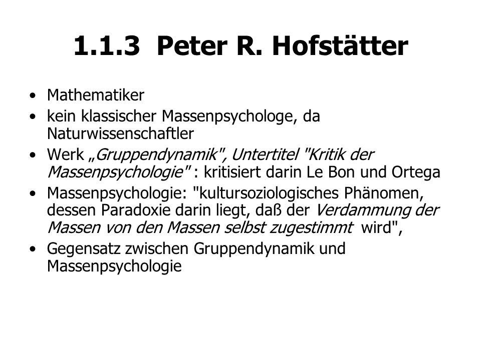 1.1.3 Peter R. Hofstätter Mathematiker