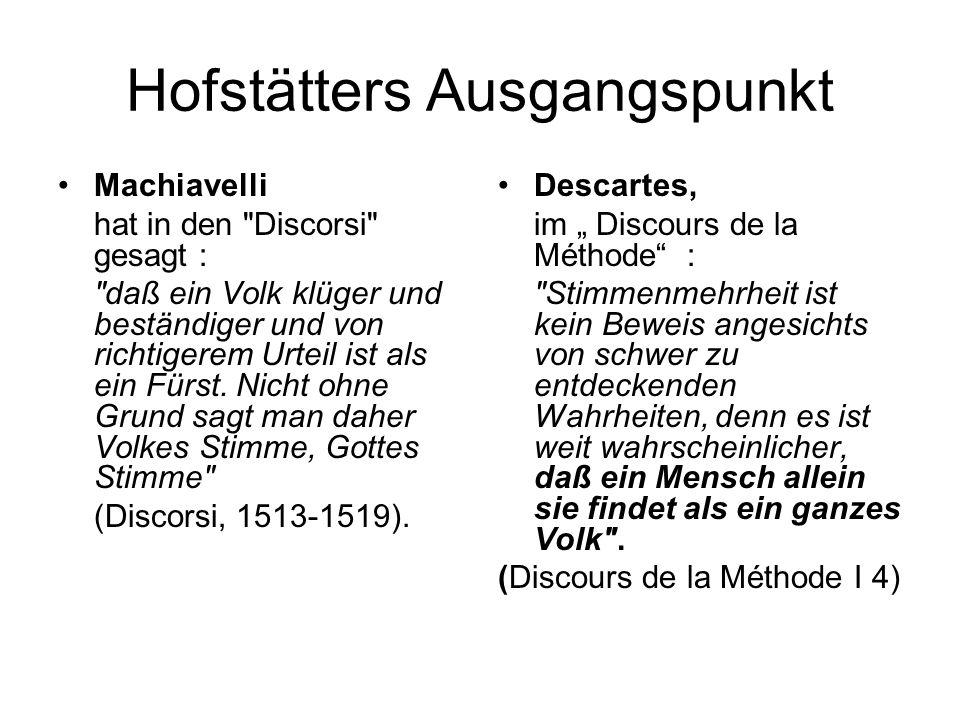Hofstätters Ausgangspunkt