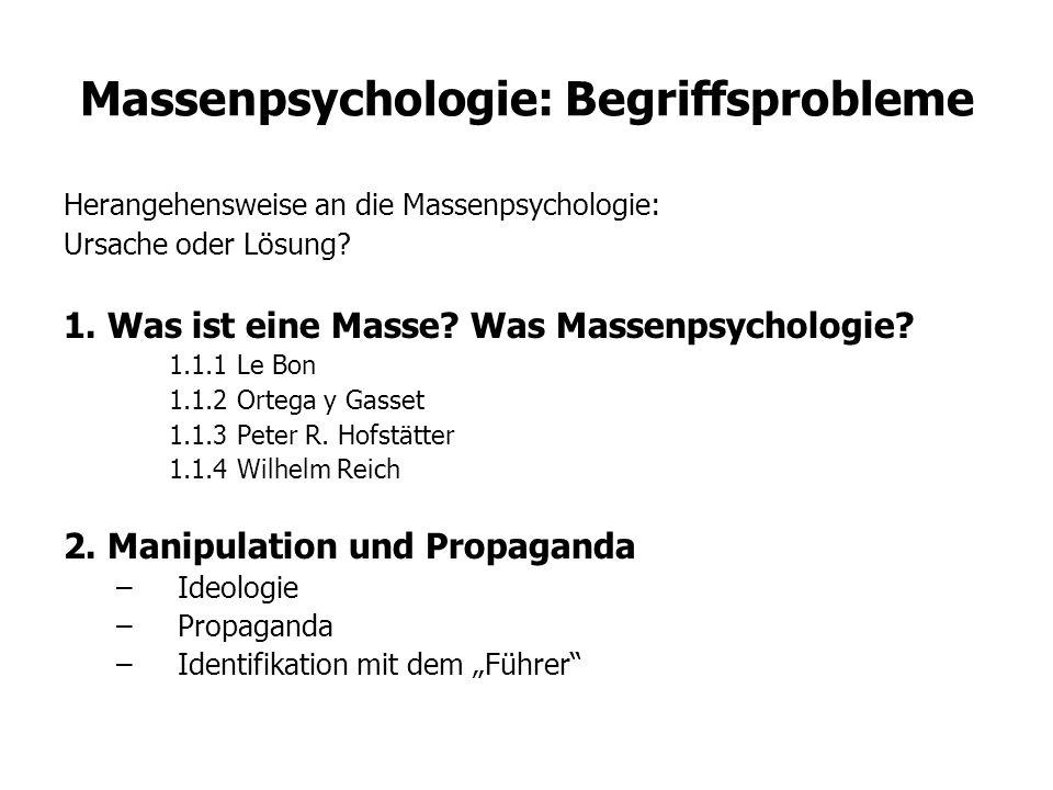 Massenpsychologie: Begriffsprobleme