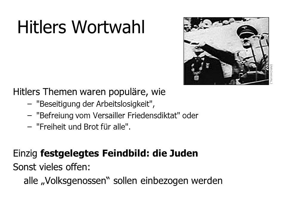 Hitlers Wortwahl Hitlers Themen waren populäre, wie