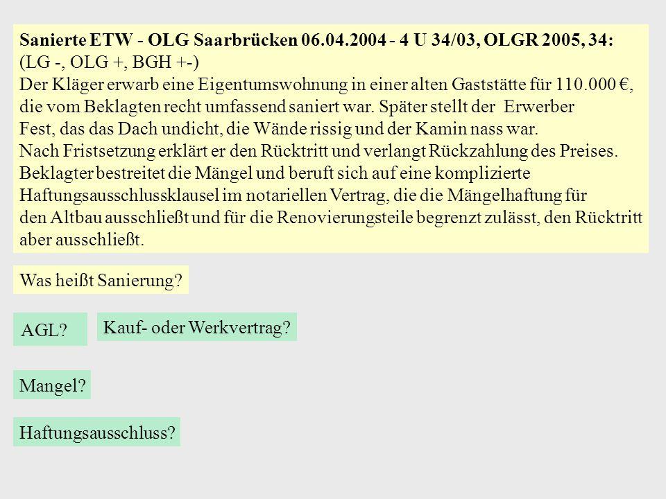 Sanierte ETW - OLG Saarbrücken 06.04.2004 - 4 U 34/03, OLGR 2005, 34: