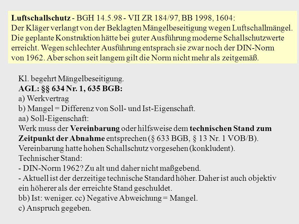 Luftschallschutz - BGH 14.5.98 - VII ZR 184/97, BB 1998, 1604: