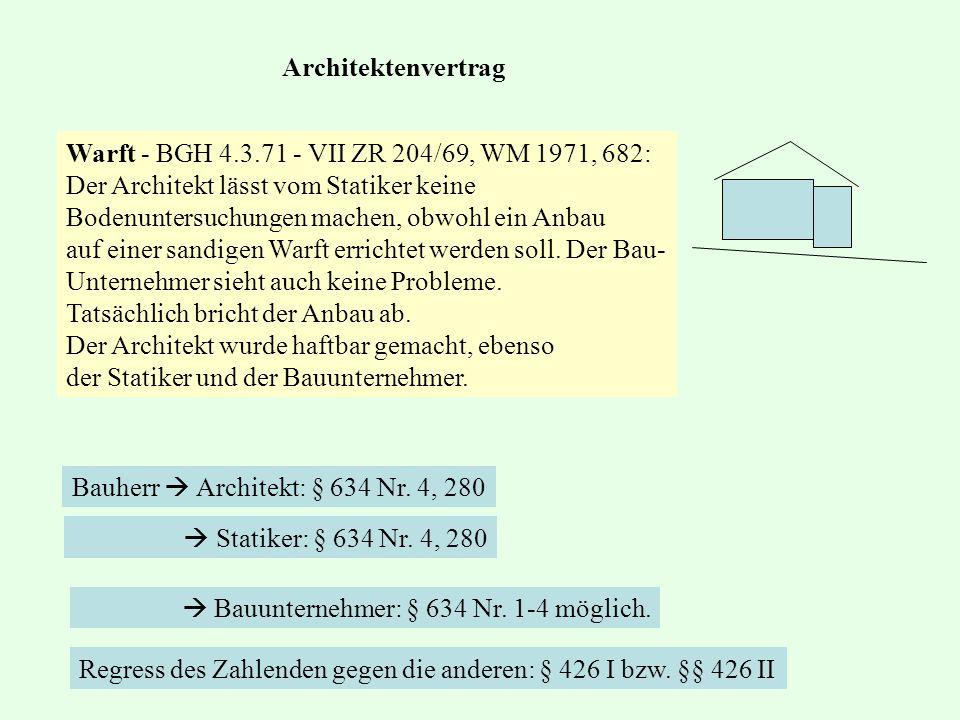 Architektenvertrag Warft - BGH 4.3.71 - VII ZR 204/69, WM 1971, 682: Der Architekt lässt vom Statiker keine.