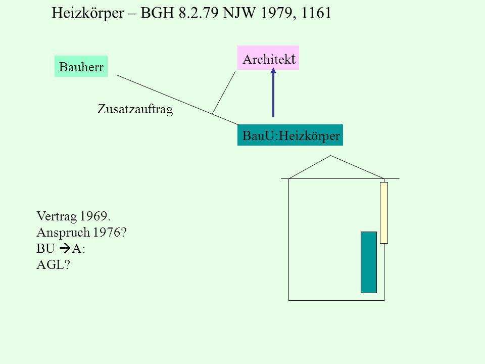 Heizkörper – BGH 8.2.79 NJW 1979, 1161 Architekt Bauherr Zusatzauftrag