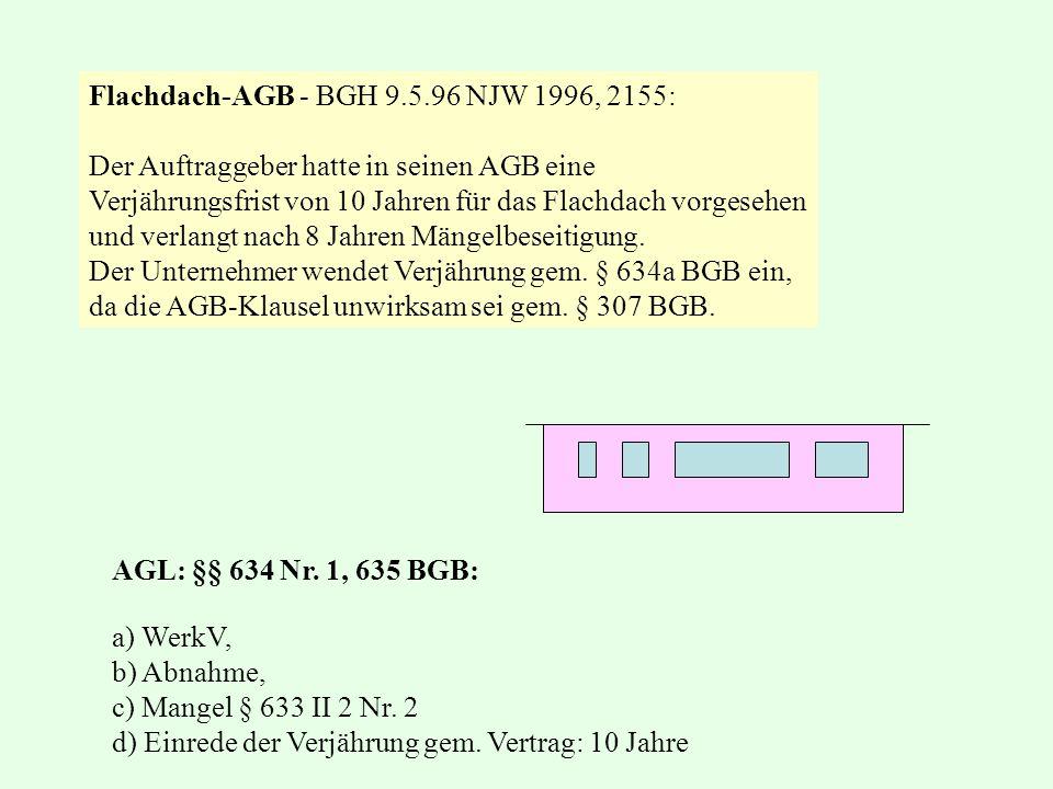 Flachdach-AGB - BGH 9.5.96 NJW 1996, 2155: