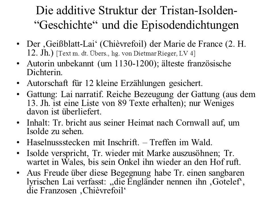 Die additive Struktur der Tristan-Isolden- Geschichte und die Episodendichtungen
