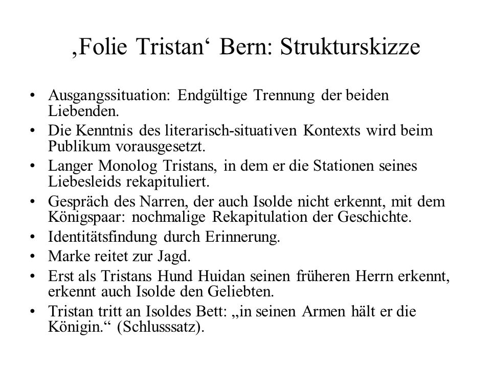 'Folie Tristan' Bern: Strukturskizze