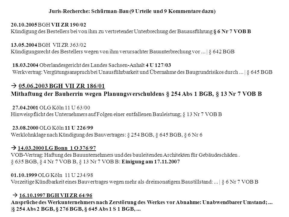Juris-Recherche: Schürman-Bau (9 Urteile und 9 Kommentare dazu)