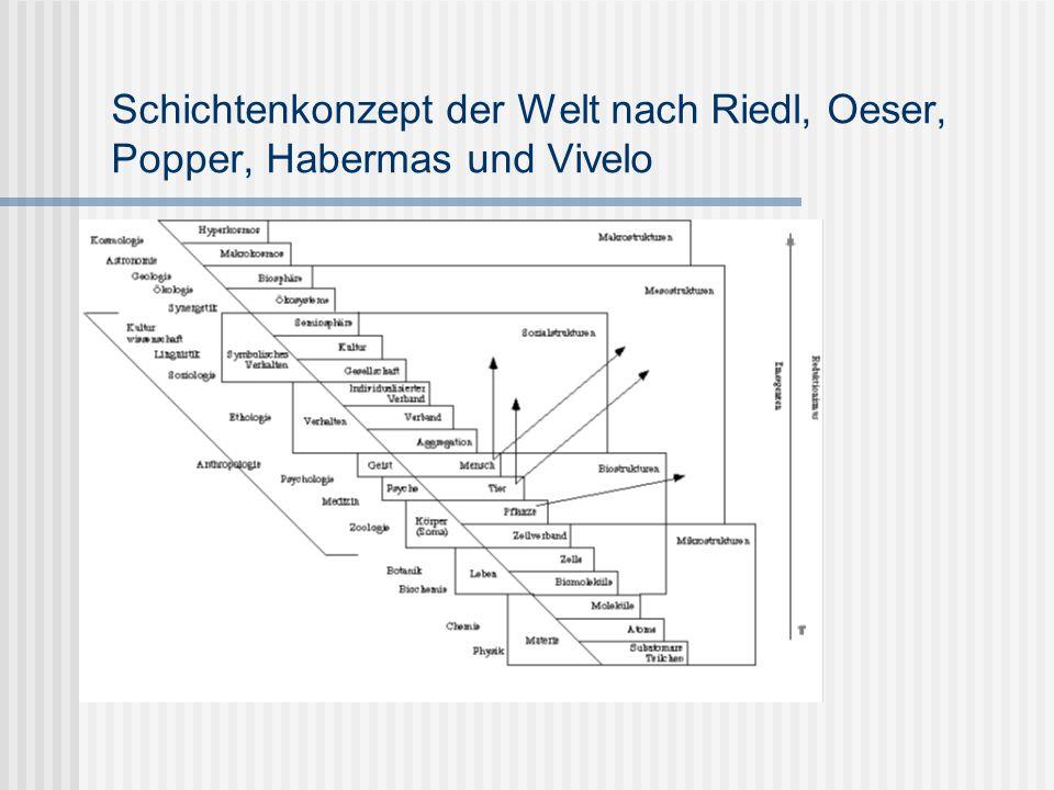 Schichtenkonzept der Welt nach Riedl, Oeser, Popper, Habermas und Vivelo
