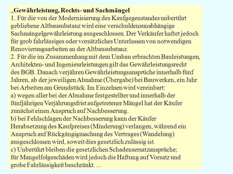 """""""Gewährleistung, Rechts- und Sachmängel"""