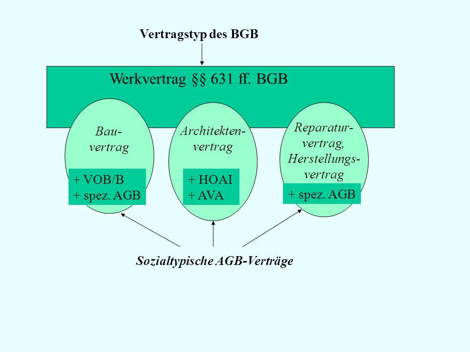 Werkvertrag §§ 631 ff. BGB Vertragstyp des BGB Bau- vertrag