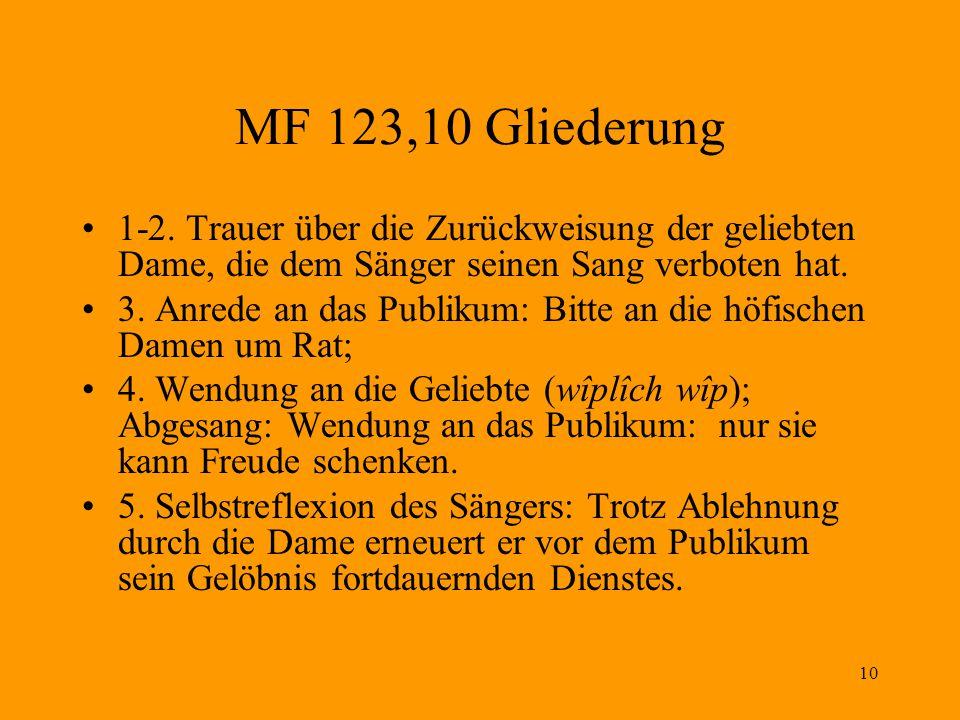 MF 123,10 Gliederung 1-2. Trauer über die Zurückweisung der geliebten Dame, die dem Sänger seinen Sang verboten hat.