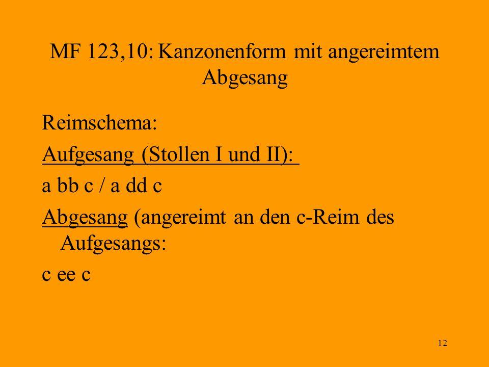 MF 123,10: Kanzonenform mit angereimtem Abgesang