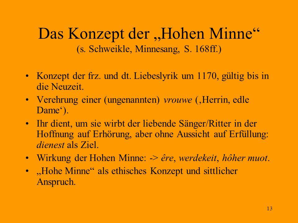 """Das Konzept der """"Hohen Minne (s. Schweikle, Minnesang, S. 168ff.)"""
