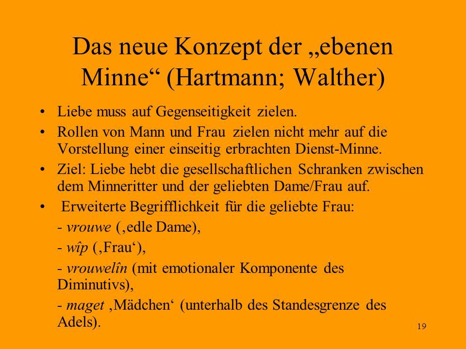 """Das neue Konzept der """"ebenen Minne (Hartmann; Walther)"""