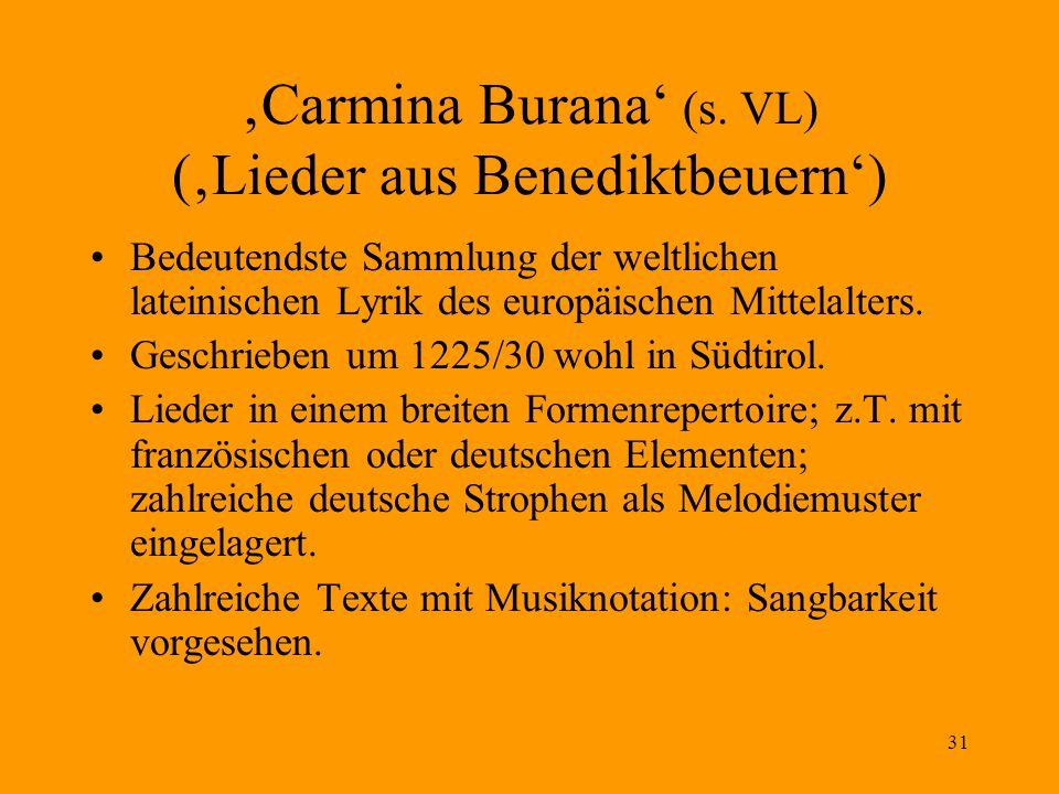 'Carmina Burana' (s. VL) ('Lieder aus Benediktbeuern')