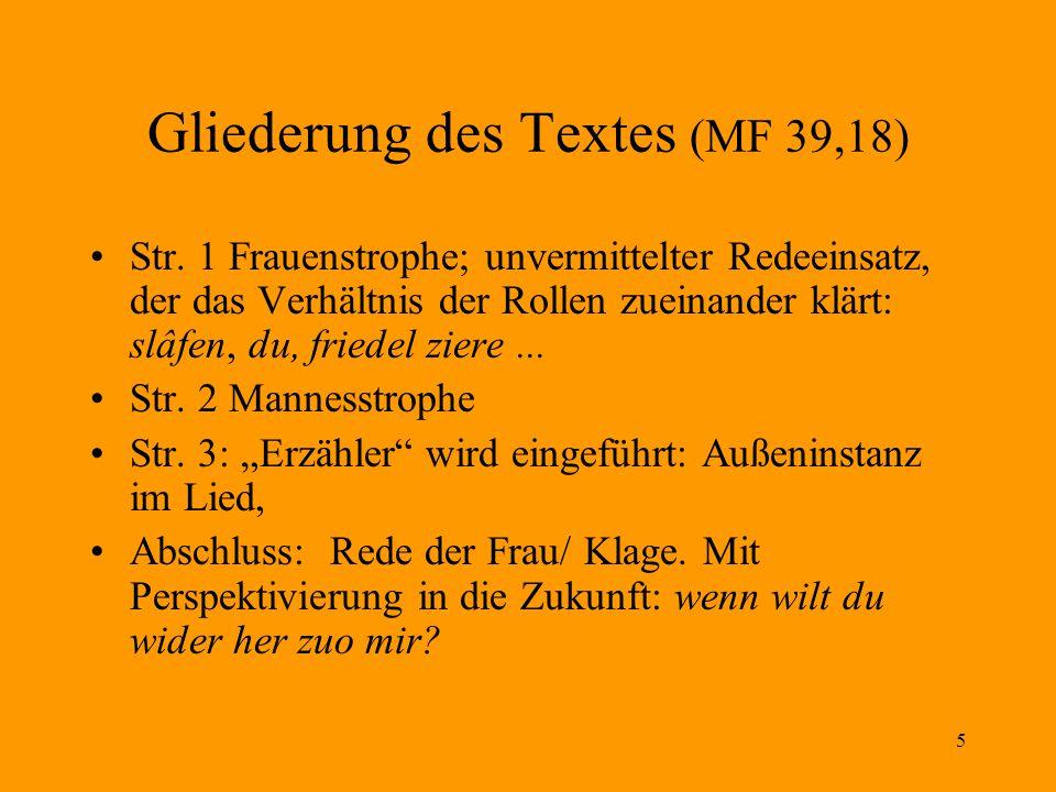 Gliederung des Textes (MF 39,18)