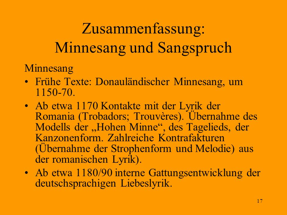 Zusammenfassung: Minnesang und Sangspruch