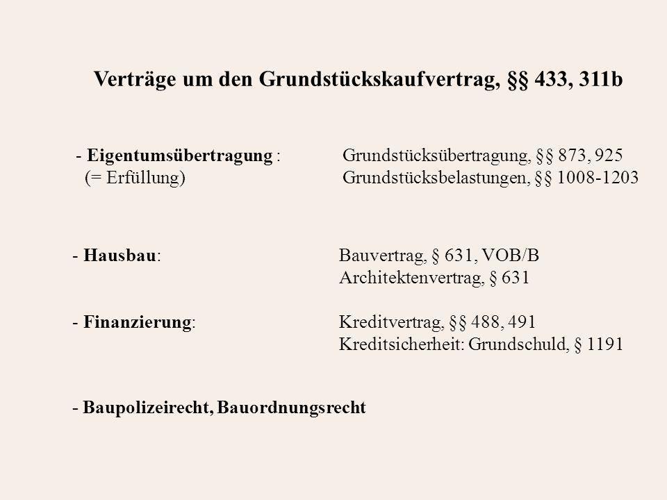 Verträge um den Grundstückskaufvertrag, §§ 433, 311b