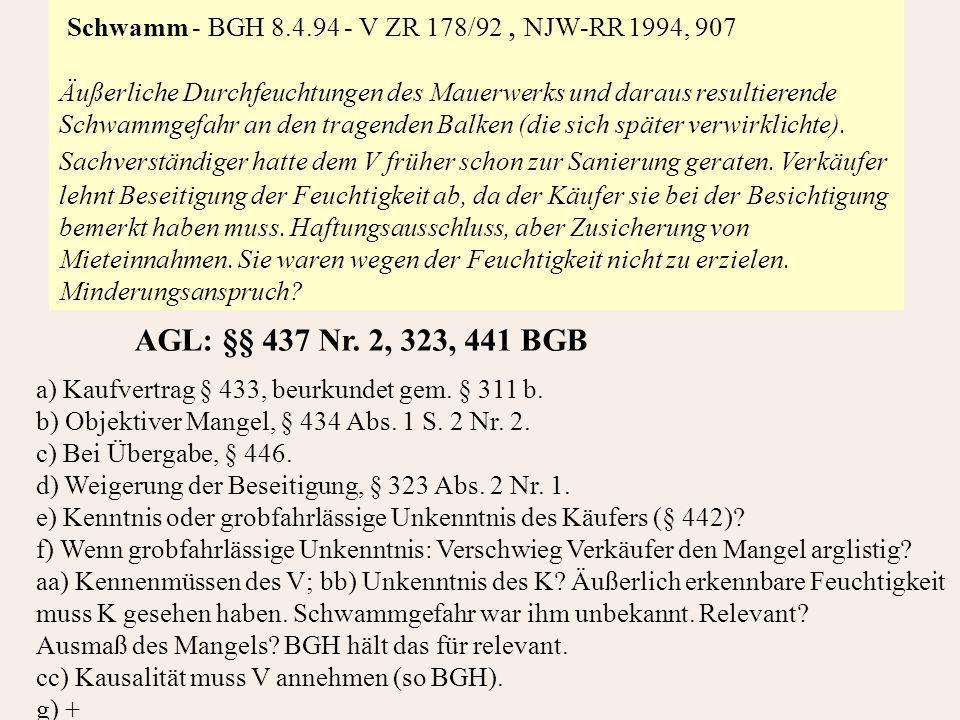 Schwamm - BGH 8.4.94 - V ZR 178/92 , NJW-RR 1994, 907
