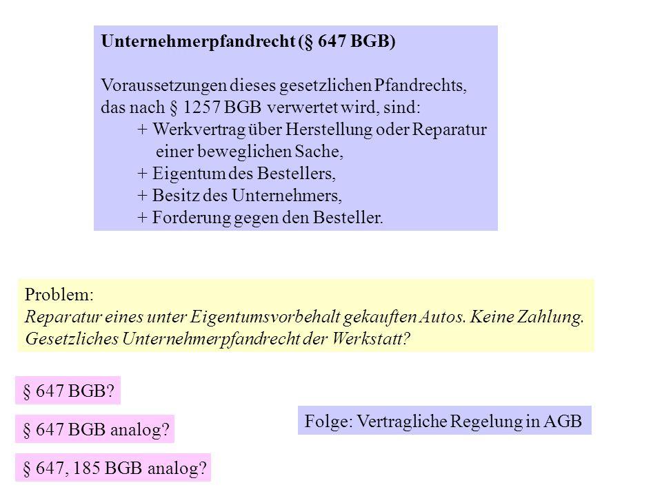 Unternehmerpfandrecht (§ 647 BGB)