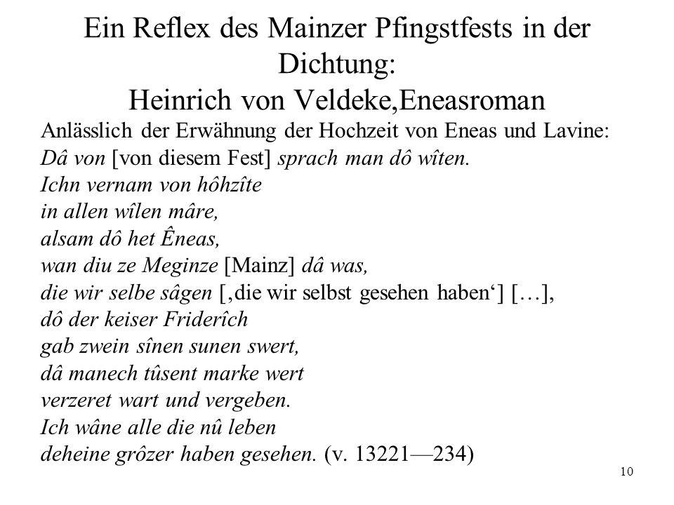 Ein Reflex des Mainzer Pfingstfests in der Dichtung: Heinrich von Veldeke,Eneasroman