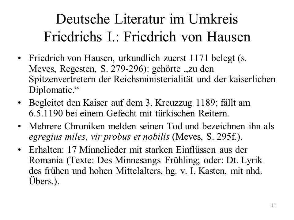 Deutsche Literatur im Umkreis Friedrichs I.: Friedrich von Hausen
