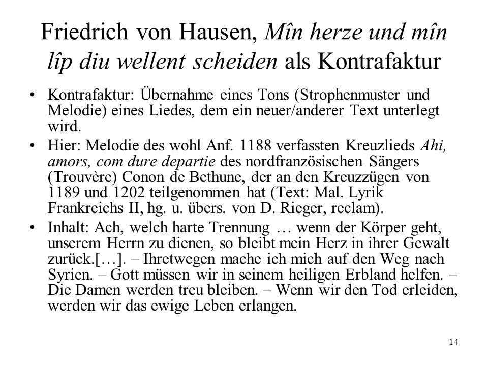 Friedrich von Hausen, Mîn herze und mîn lîp diu wellent scheiden als Kontrafaktur