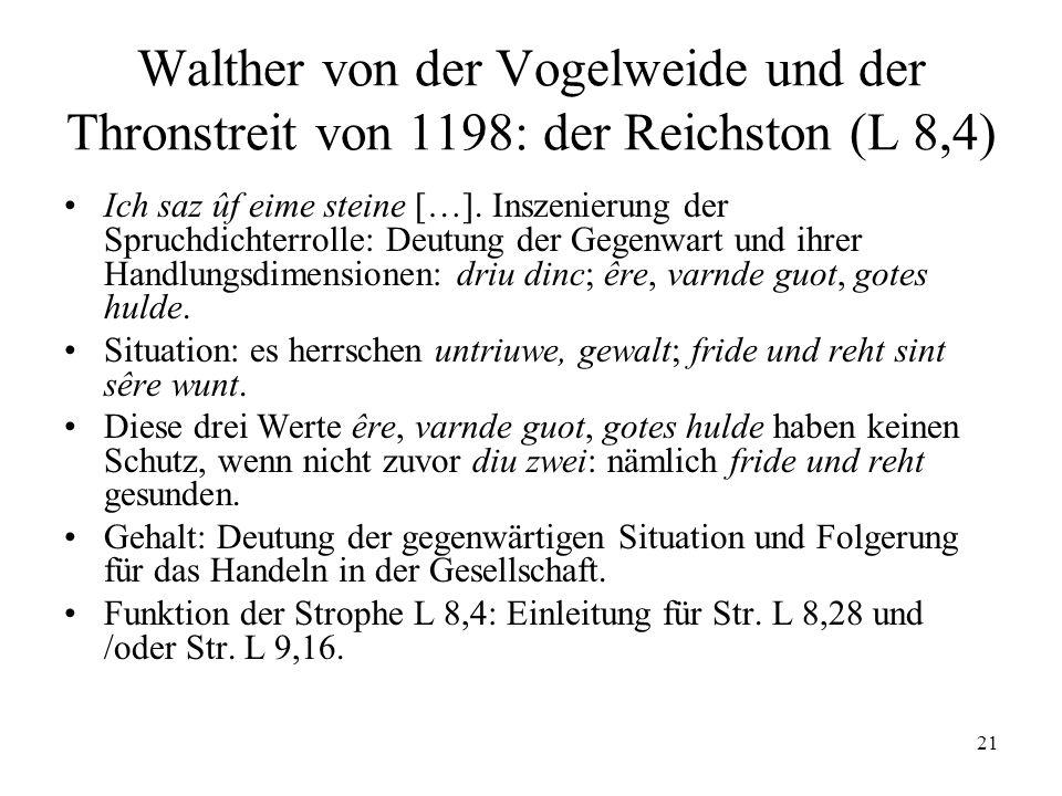 Walther von der Vogelweide und der Thronstreit von 1198: der Reichston (L 8,4)