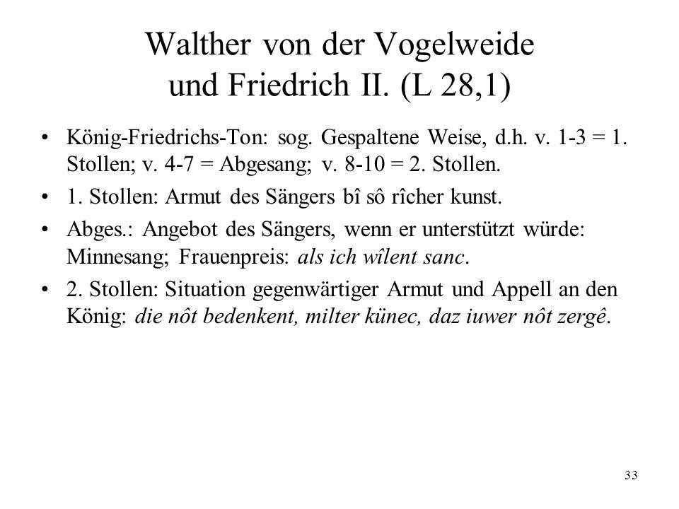 Walther von der Vogelweide und Friedrich II. (L 28,1)
