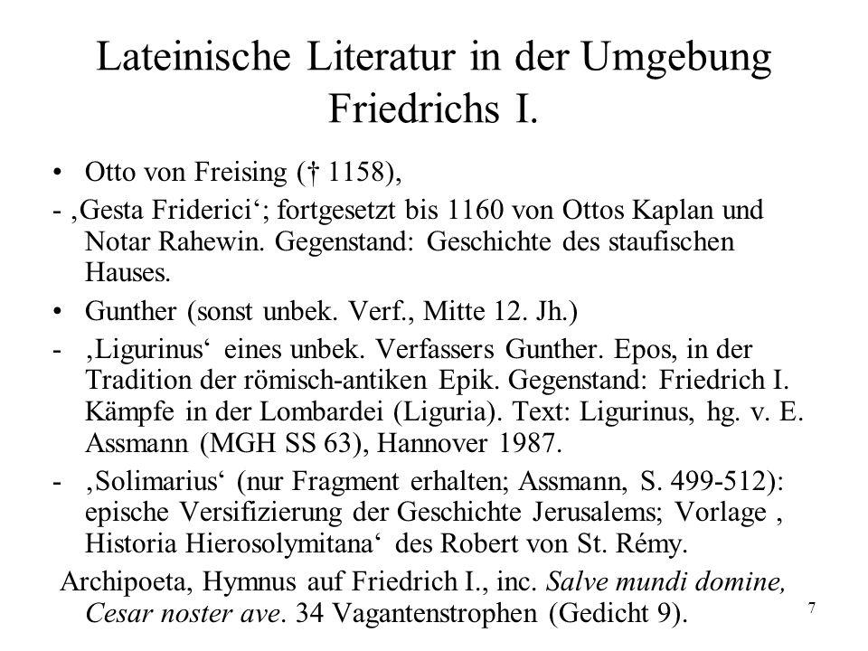 Lateinische Literatur in der Umgebung Friedrichs I.