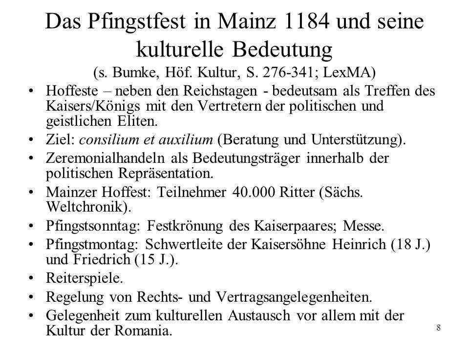 Das Pfingstfest in Mainz 1184 und seine kulturelle Bedeutung (s