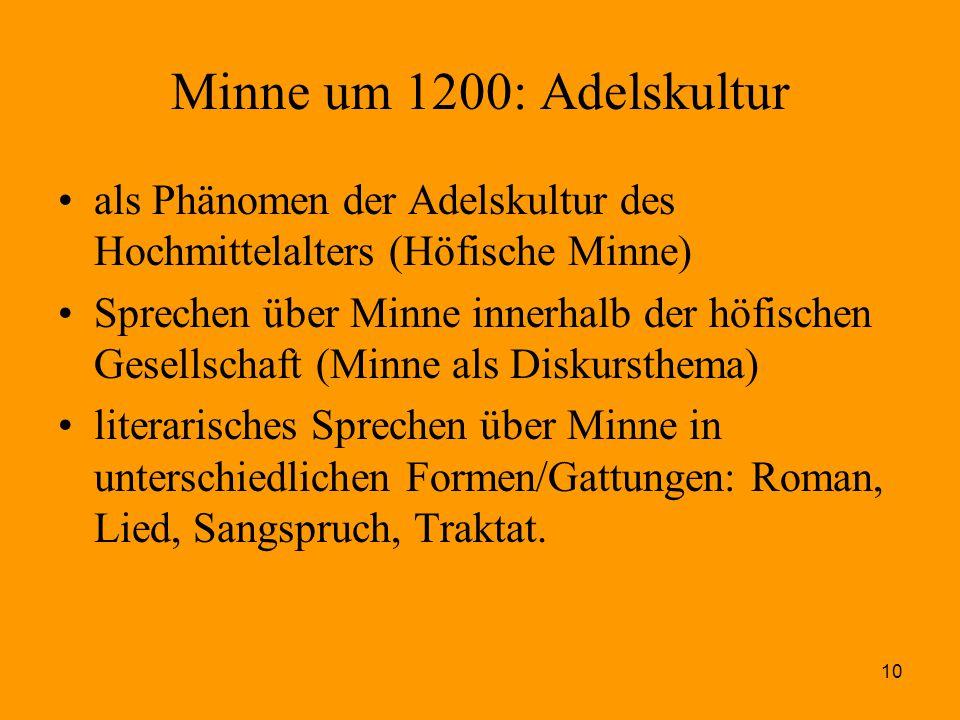 Minne um 1200: Adelskultur als Phänomen der Adelskultur des Hochmittelalters (Höfische Minne)