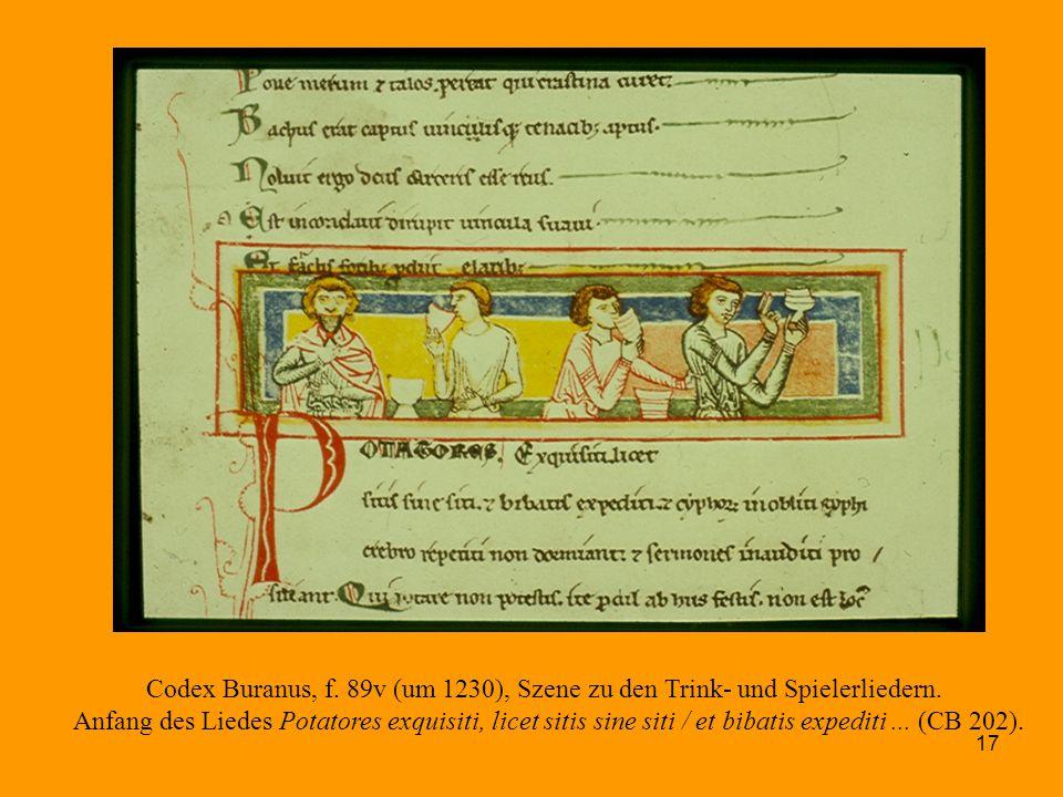 Codex Buranus, f. 89v (um 1230), Szene zu den Trink- und Spielerliedern.