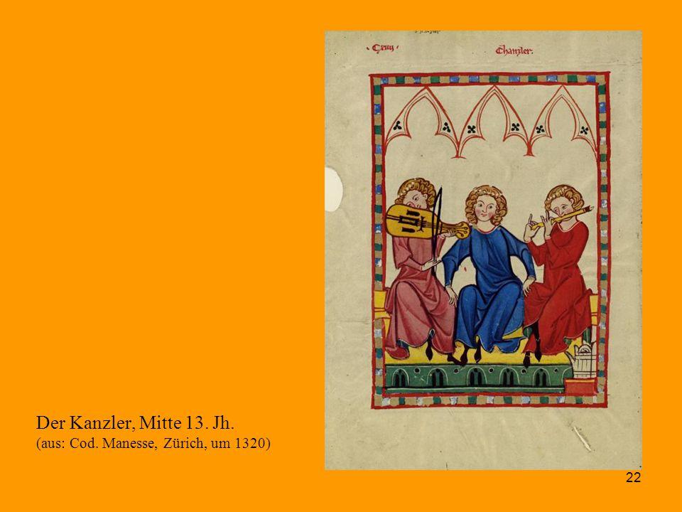 Der Kanzler, Mitte 13. Jh. (aus: Cod. Manesse, Zürich, um 1320)