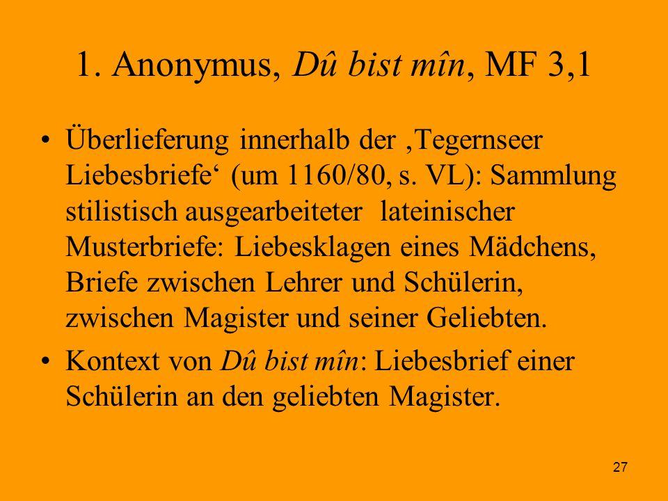 1. Anonymus, Dû bist mîn, MF 3,1