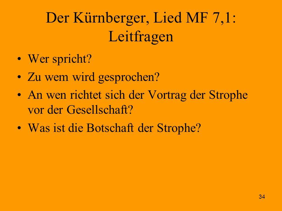 Der Kürnberger, Lied MF 7,1: Leitfragen