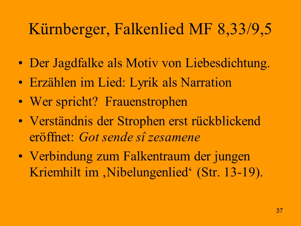 Kürnberger, Falkenlied MF 8,33/9,5