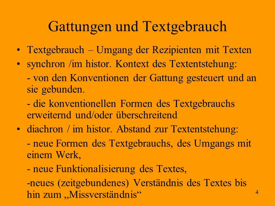 Gattungen und Textgebrauch