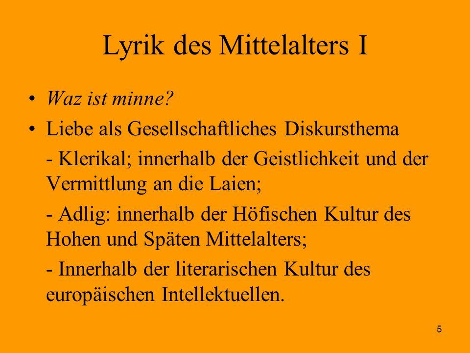 Lyrik des Mittelalters I