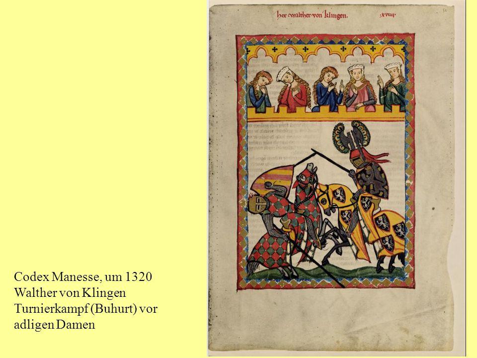 Codex Manesse, um 1320 Walther von Klingen Turnierkampf (Buhurt) vor adligen Damen