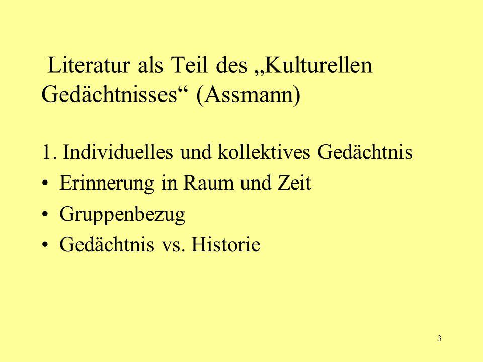 """Literatur als Teil des """"Kulturellen Gedächtnisses (Assmann)"""