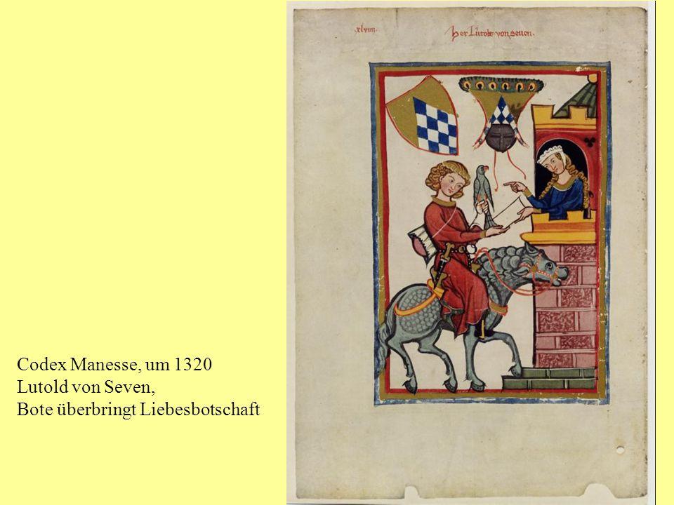 Codex Manesse, um 1320 Lutold von Seven, Bote überbringt Liebesbotschaft