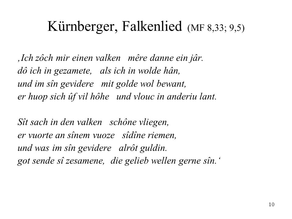 Kürnberger, Falkenlied (MF 8,33; 9,5)