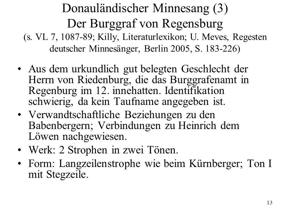 Donauländischer Minnesang (3) Der Burggraf von Regensburg (s