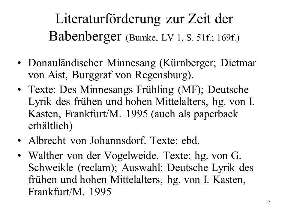 Literaturförderung zur Zeit der Babenberger (Bumke, LV 1, S. 51f