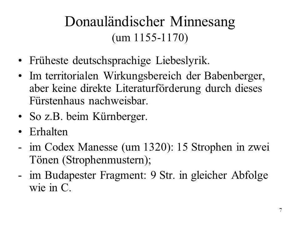 Donauländischer Minnesang (um 1155-1170)
